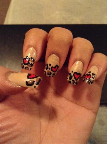 Valentine's Day Cheetah Nails