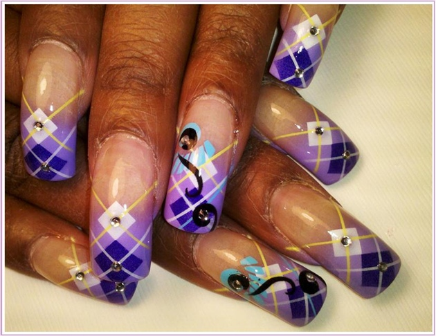 Purple Argyle Nail Art