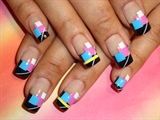 Nail Art Black French Squares
