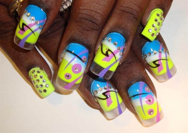 Bright n Bold Airbrush Nail Art
