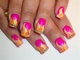pink nail art w flames