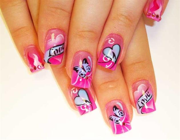 Pink Butterfly Nail Art Design