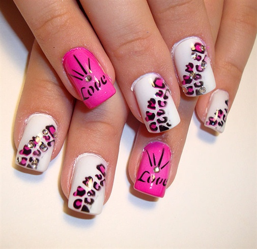 love leopard pink - Nail Art Gallery