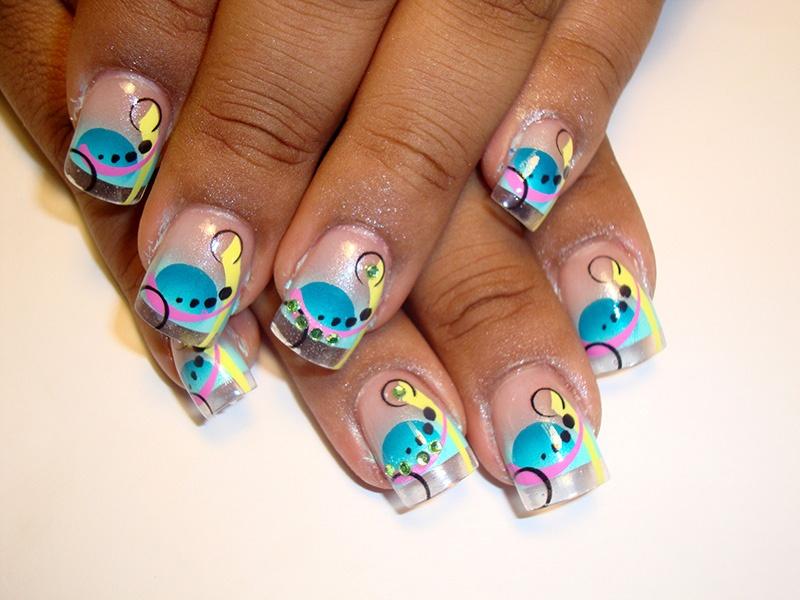 Airbrush nail art blues nail art gallery prinsesfo Choice Image