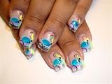 airbrush nail art blues