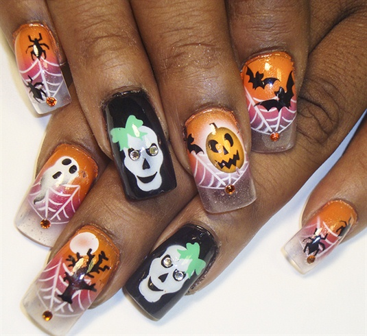 halloween on clear tips