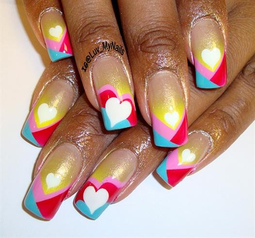 Colors and Hearts Nail Art