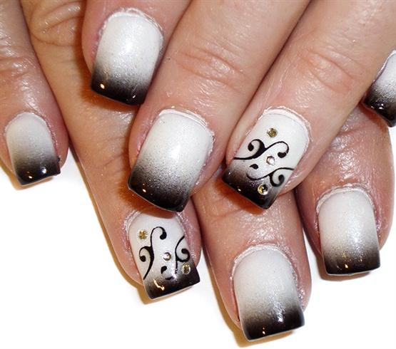 Black Tips N Swirls Nail Art Design Nail Art Gallery