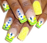 yellow green stripes nailart