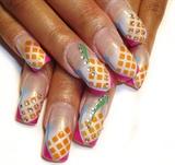 orange squares nail art