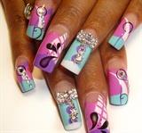 pink nails w jewelery