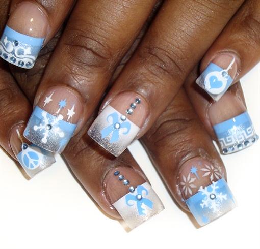 blue french holiday nail art