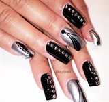 black and silver polished nails