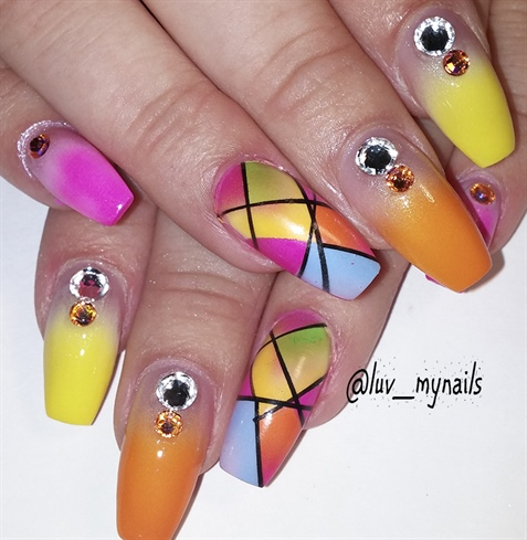 Rainbow tips nails