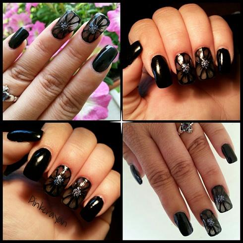 Sheer Black flower nail art!