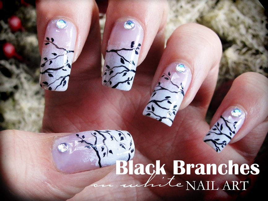 Black Branches On White Nail Art Nail Art Gallery