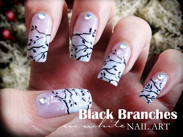 Black Branches on White nail art