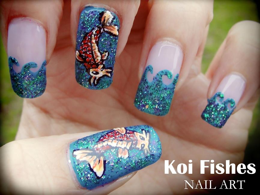 Koi Fishes nail art - Nail Art Gallery