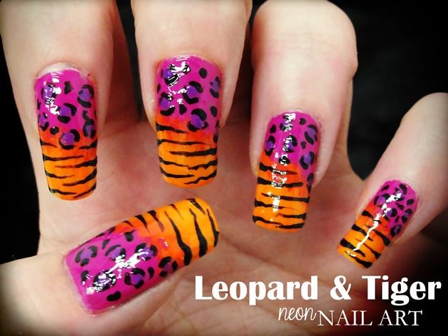 Leopard & Tiger nail art - Leopard & Tiger Nail Art - Nail Art Gallery