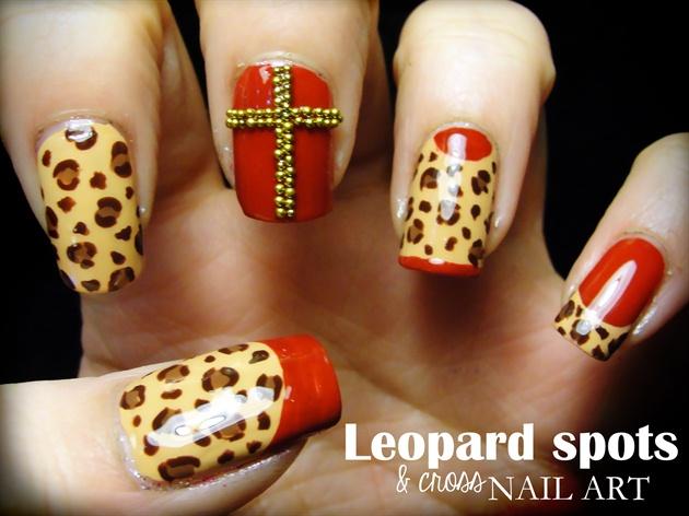 Leopard Spots Cross Nail Art Nail Art Gallery