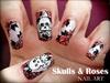 Skulls & Roses nail art