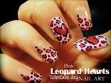 Pink Leopard Hearts nail art