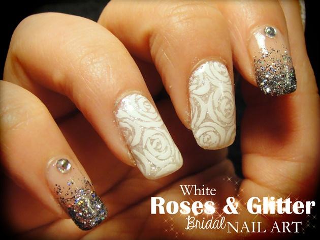 White Roses Glitter Nail Art Nail Art Gallery