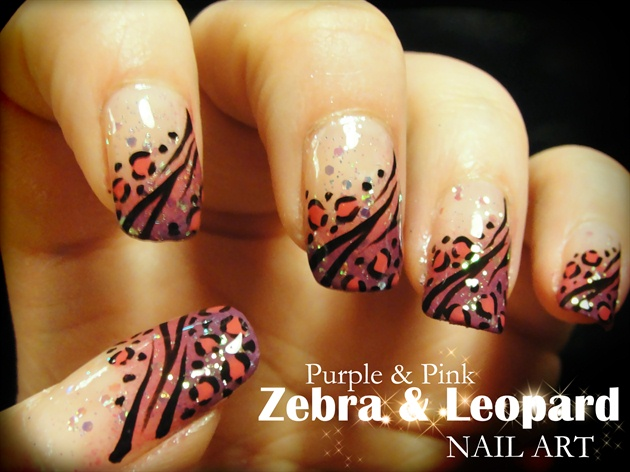 Purple Pink Zebra Leopard Nail Art Nail Art Gallery