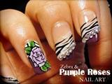 Zebra & Purple Roses nail art