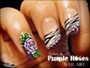 Zebra & Purple Roses nail art