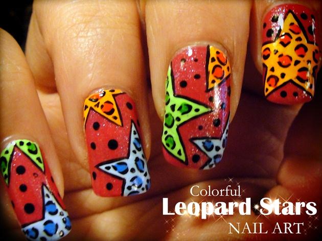 Colorful Leopard Stars nail art