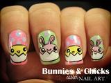 Bunnies & Chicks Easter nail art
