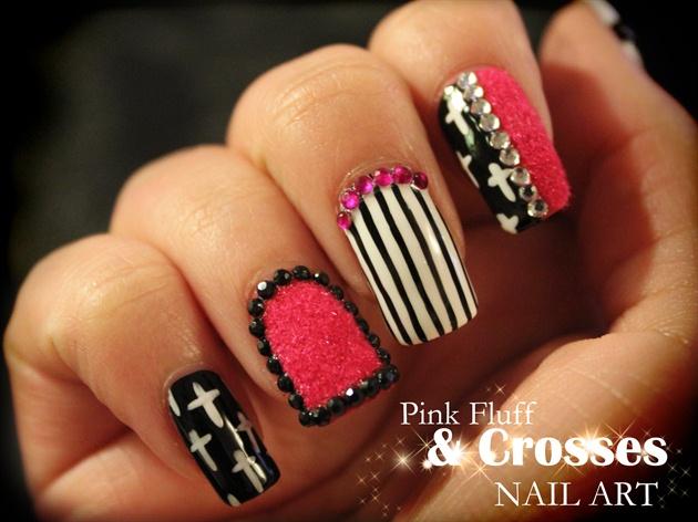 Pink Fluff Crosses Nail Art Nail Art Gallery