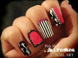 Pink Fluff & Crosses nail art
