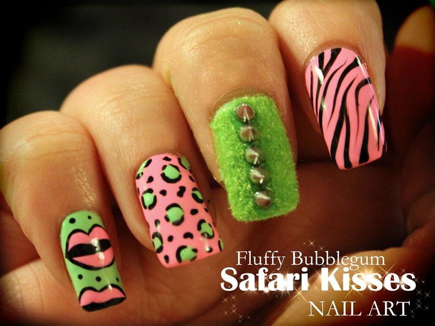 Fluffy Bubblegum Safari Kisses nail art - Nail Art Gallery