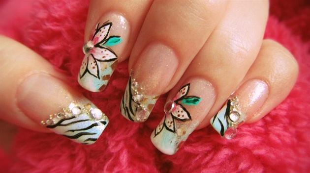 Zebra Floral Nail Design Nail Art Gallery