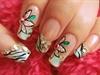 Zebra floral nail design