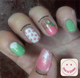 Pink and Mint Nail Art