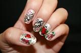 Tattoo Inspired Valentine's Day nail art