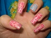 Pink n Blue Leopard Nail design