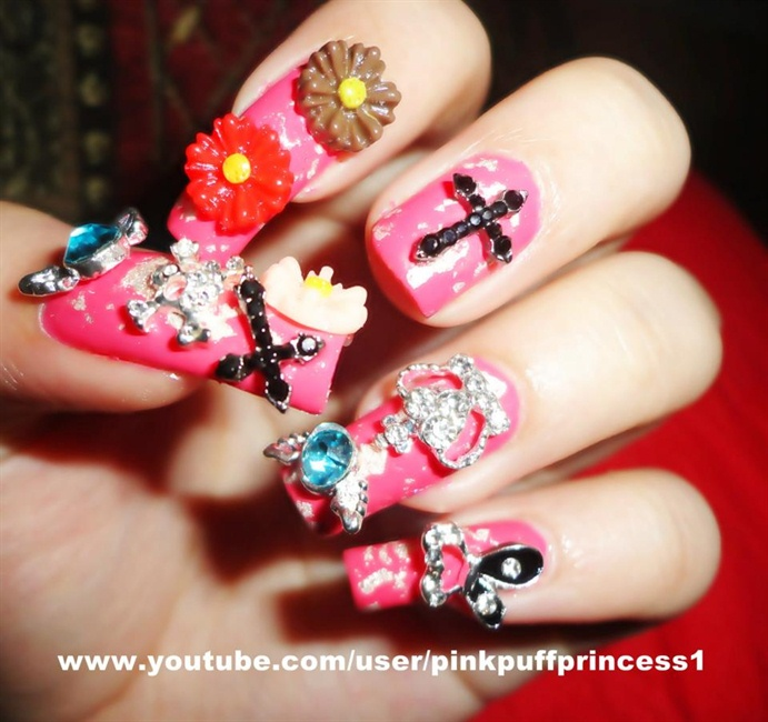 Japanese 3D Nail Art With Silver Flakes - Nail Art Gallery