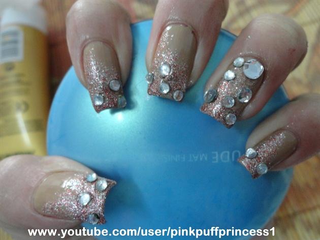 Gradient Nails with Rhinestones