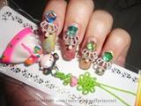 Pastel Marbling Jewel Nails