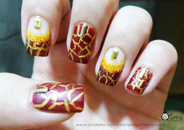 Christmas Golden and Maroon Nail Art