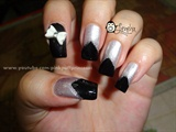 Chevron Nails Black and Silver