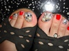 Red Japanese Toe Nail Art