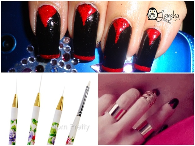 Black And Red Vampire Nails Nail Art Gallery