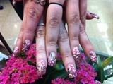 Half white & pink flowers