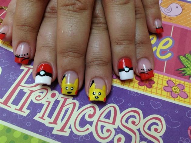 Pikachu Acrylic Nails Pikachu Nails