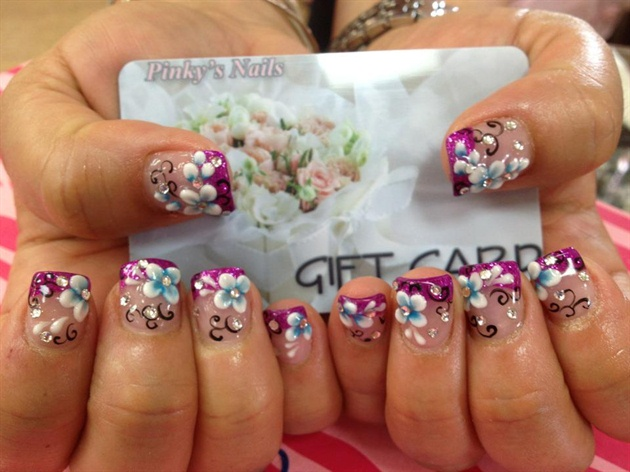 Purple tips with 3d flowers nail art gallery purple tips with 3d flowers prinsesfo Choice Image
